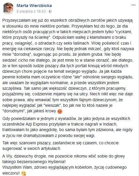 Marta Wierzbicka odpowiada portalom plotkarskim