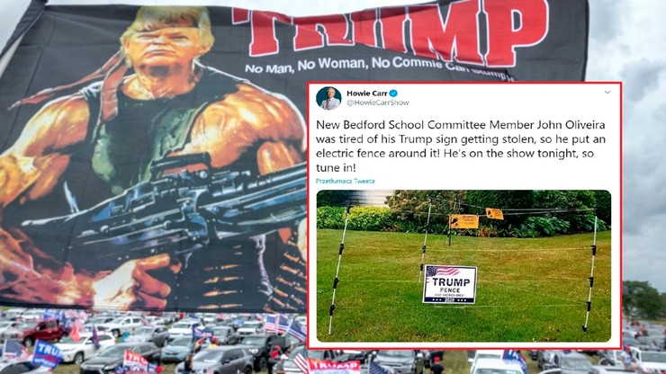 """Reklamy Trumpa chronione ogrodzeniem pod napięciem. """"W obronie wolności słowa"""""""