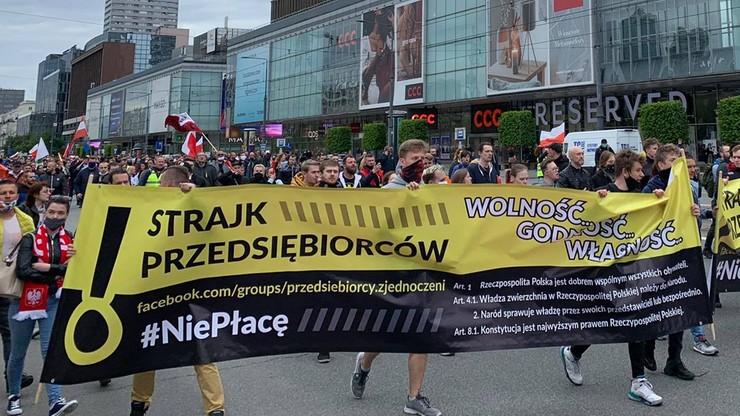 Strajk przedsiębiorców w Warszawie. Zatrzymano ponad 380 osób