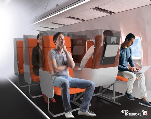 Jeden z zaproponowanych zestawów osłon do foteli pasażerskich w samolotach