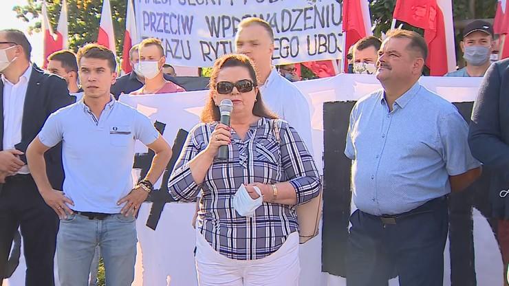 Powrót Renaty Beger i protest przed siedzibą PiS. Była posłanka Samoobrony broni ferm futerkowych - Polsat News