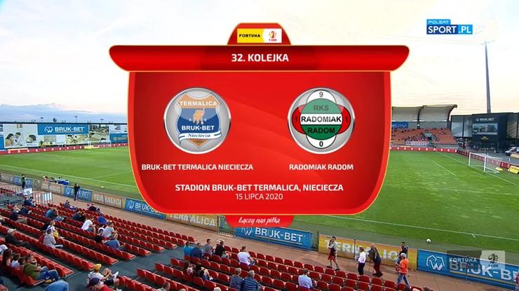 Fortuna 1 Liga: Bruk-Bet Termalica Nieciecza - Radomiak Radom 1:1. Skrót meczu