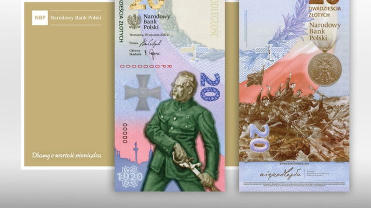 Pierwszy pionowy banknot. Upamiętnia Bitwę Warszawską 1920 r.