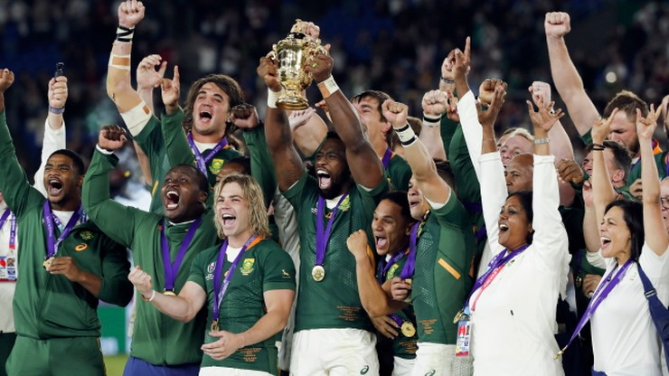 Radość Springboków po zdobyciu Pucharu Świata w rugby (WIDEO)