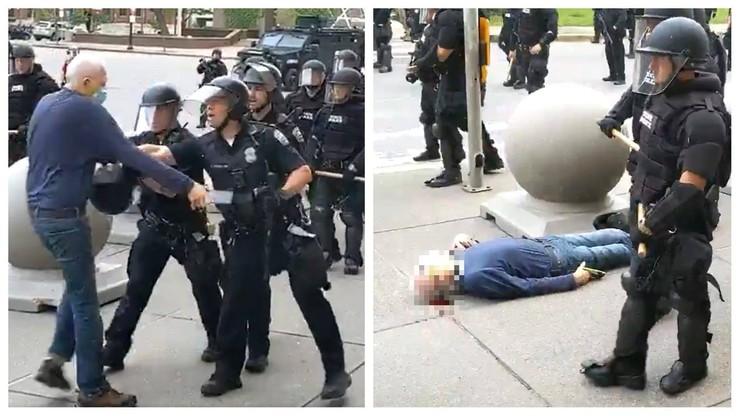 Protesty w USA. 75-latek wyszedł naprzeciw policji, jest w ciężkim stanie
