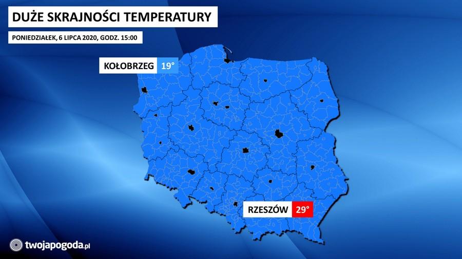 Zróżnicowane temperatury