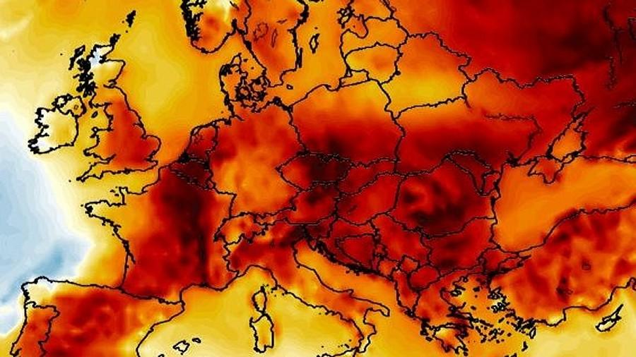 Anomalie temperatury w Europie w dniu 19 grudnia 2019, godz. 19:00. Fot. wxcharts.com