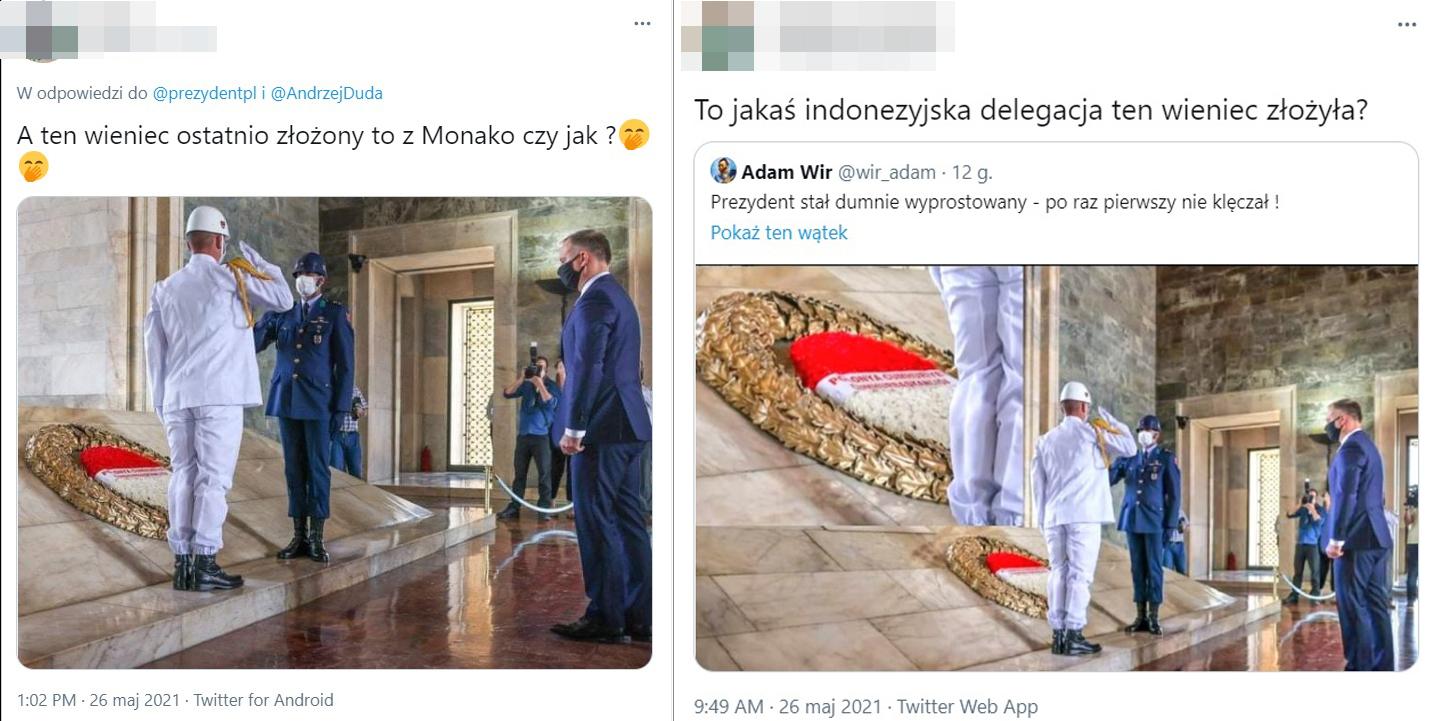 Internauci złośliwie komentowali wieniec złożony przez prezydenta Polski