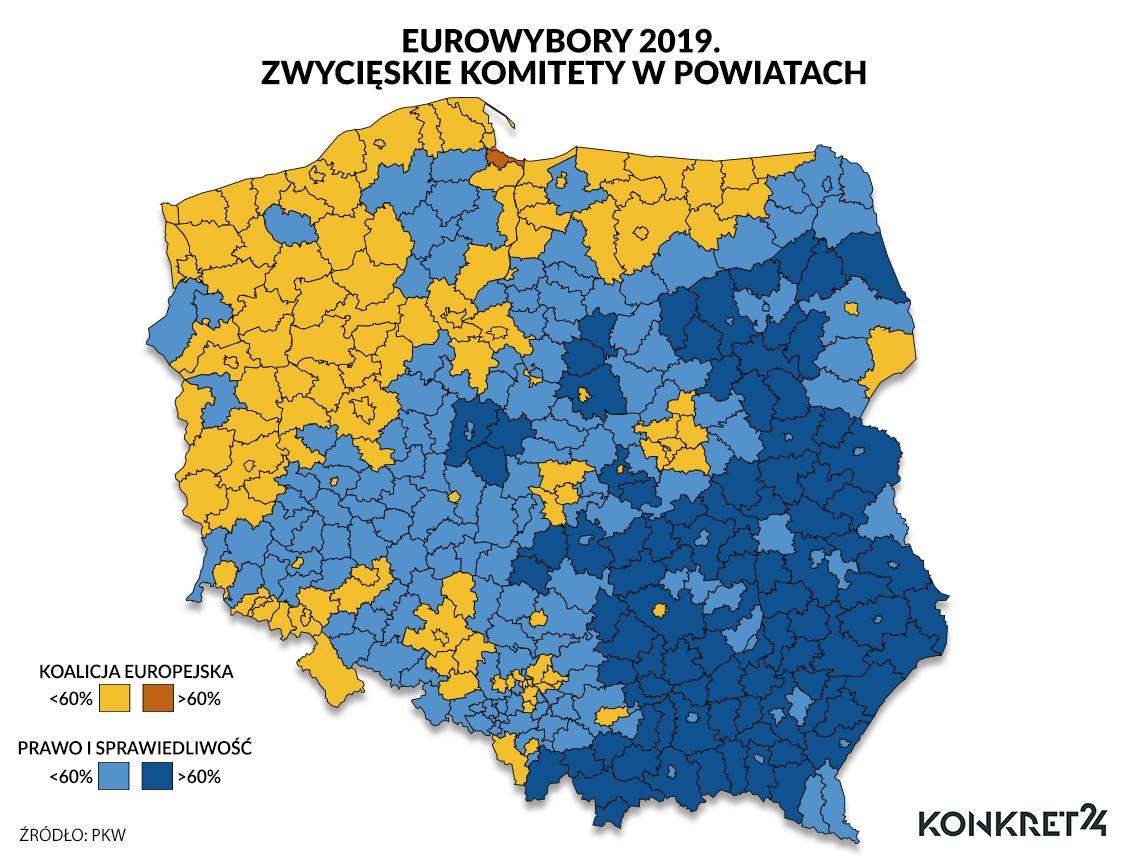 PiS zdominowało powiaty