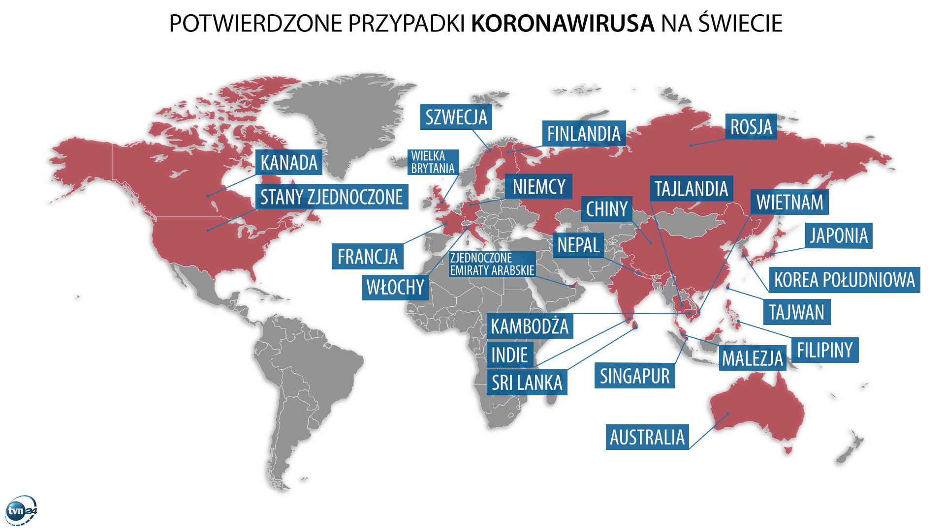 Potwierdzone przypadki koronawirusa na świecie