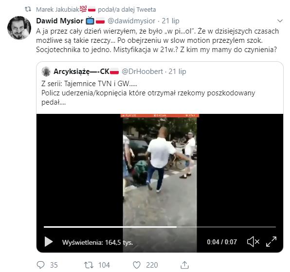 Wpis na Twitterze dotyczący wydarzeń w Białymstoku 20 lipca 20189 r.