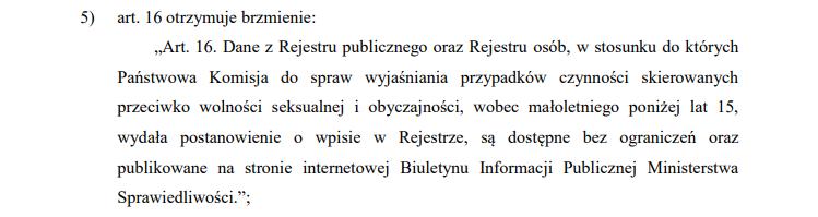 Jeden z artykułów projektu ustawy o komisji ds. badania pedofilii