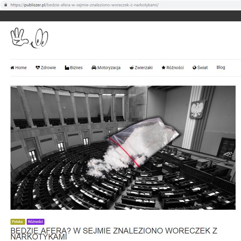 Zrzut ekranu z nieprawdziwą informacją