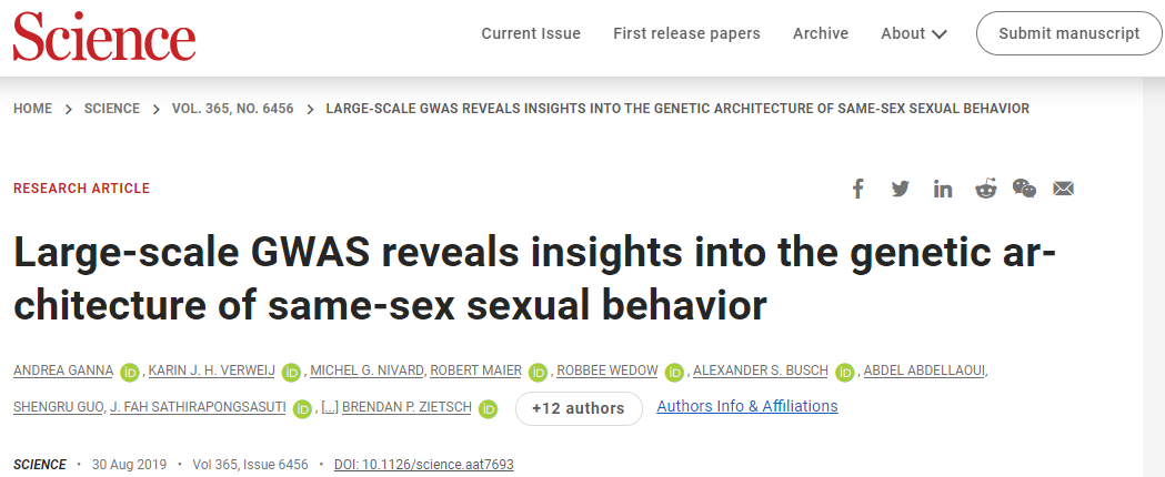 Nagłówek artykułu na stronie Science.org