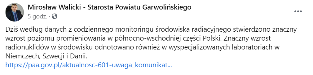 Wpis, jaki pojawił się na profilu starosty powiatu garwolińskiego