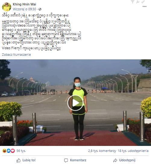 Viralowy post na Facebooku z kobietą tańczącą na tle przejeżdżającej kolumny samochodów wojskowych