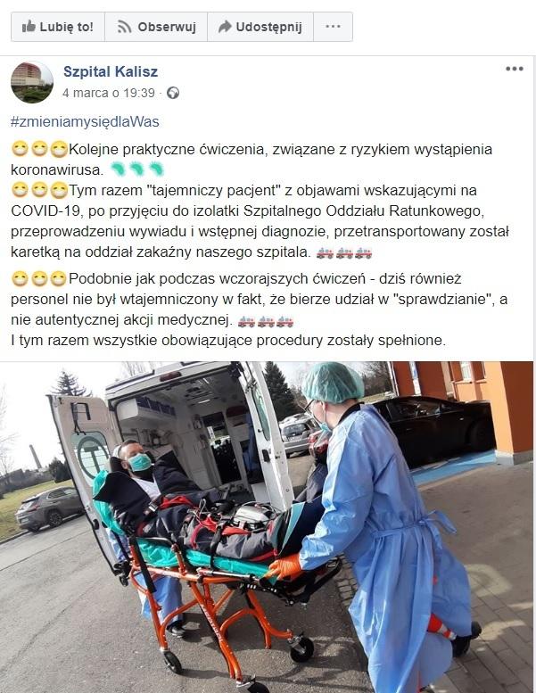 Facebook szpitala w Kaliszu