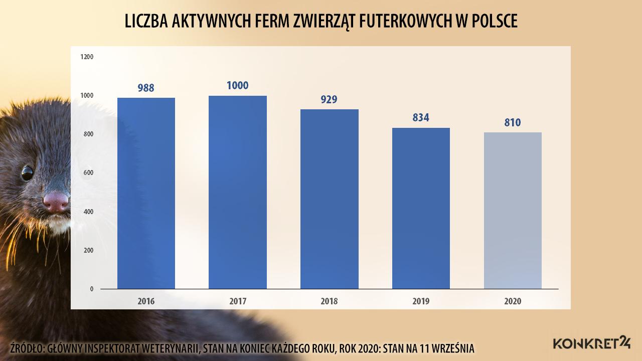 Liczba ferm zwierząt futerkowych w Polsce
