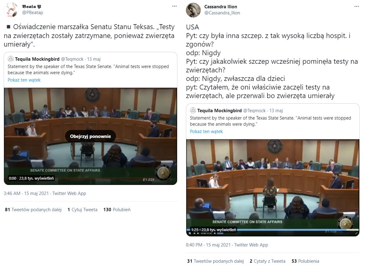 Wideo komentowano także na Twitterze