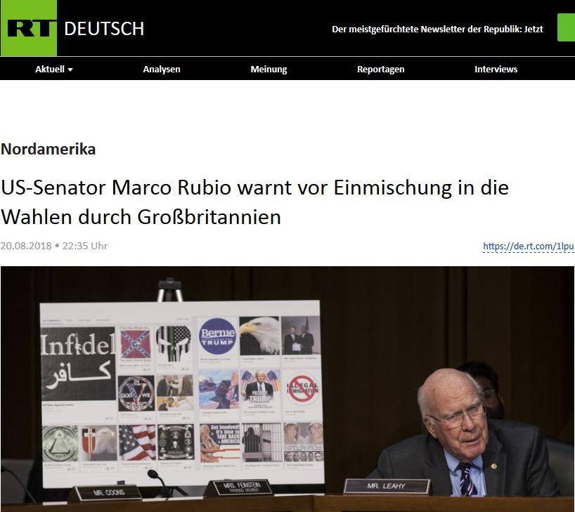 Artykuł RT Deutsch informujący o fałszywym Tweecie senatora Rubio