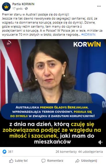 """""""Australijska premier Gladys Berejiklian wprowadzająca terror covidowy"""" - przekaz z profilu Partia Korwin"""
