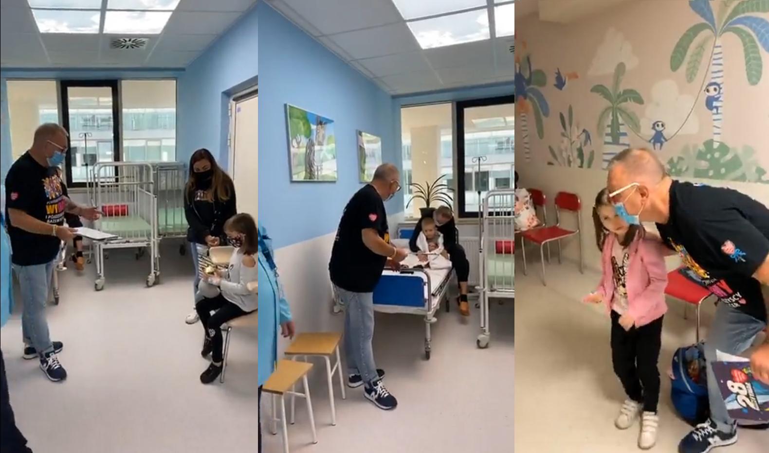 Momenty nagrania, na których Jerzy Owsiak spotyka się z dziećmi