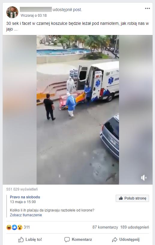 Wpis udostępniający nagranie budzące wątpliwości internautów.