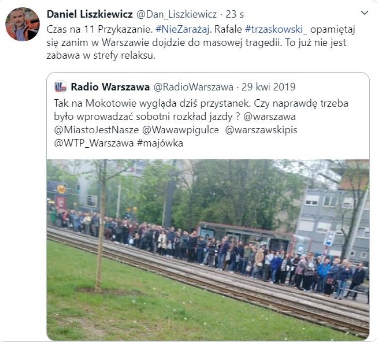 Stary wpis Radia Warszawa podał dalej m.in. wiceszef publicystyki TVP Info