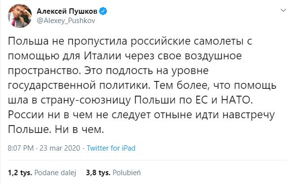 Rosyjski senator oskarża Polskę