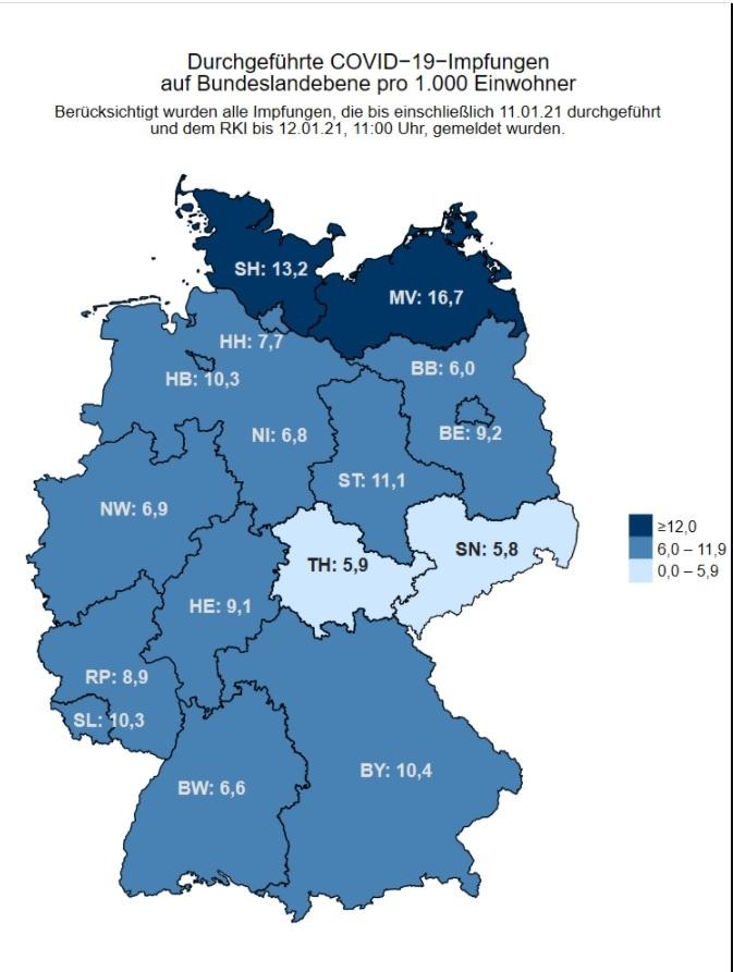 W Niemczech Instytut Roberta Kocha informuje na bieżąco, jaki jest wskaźnik wyszczepienia na COVID-19 na 1000 mieszkańców w poszczególnych krajach związkowych