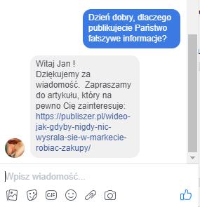 Zrzut ekranu z facebookowego okna wiadomości
