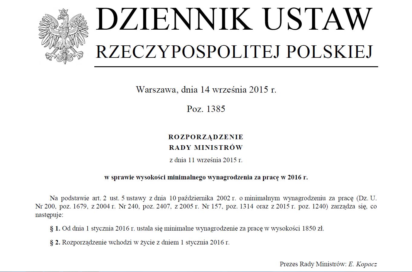 Rozporządzenie E. Kopacz 11.9.2015
