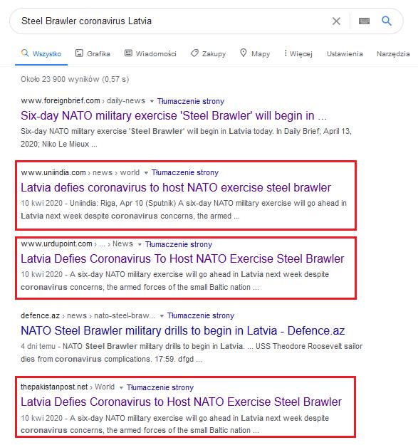 Azjatyckie portale z tym samym artykułem opartym na Sputniku
