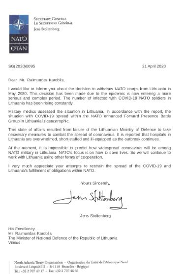 Fałszywy list z wykorzystanym podpisem sekretarza generalnego NATO