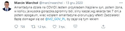 Wpis wiceministra sprawiedliwości Marcina Warchoła na Twitterze