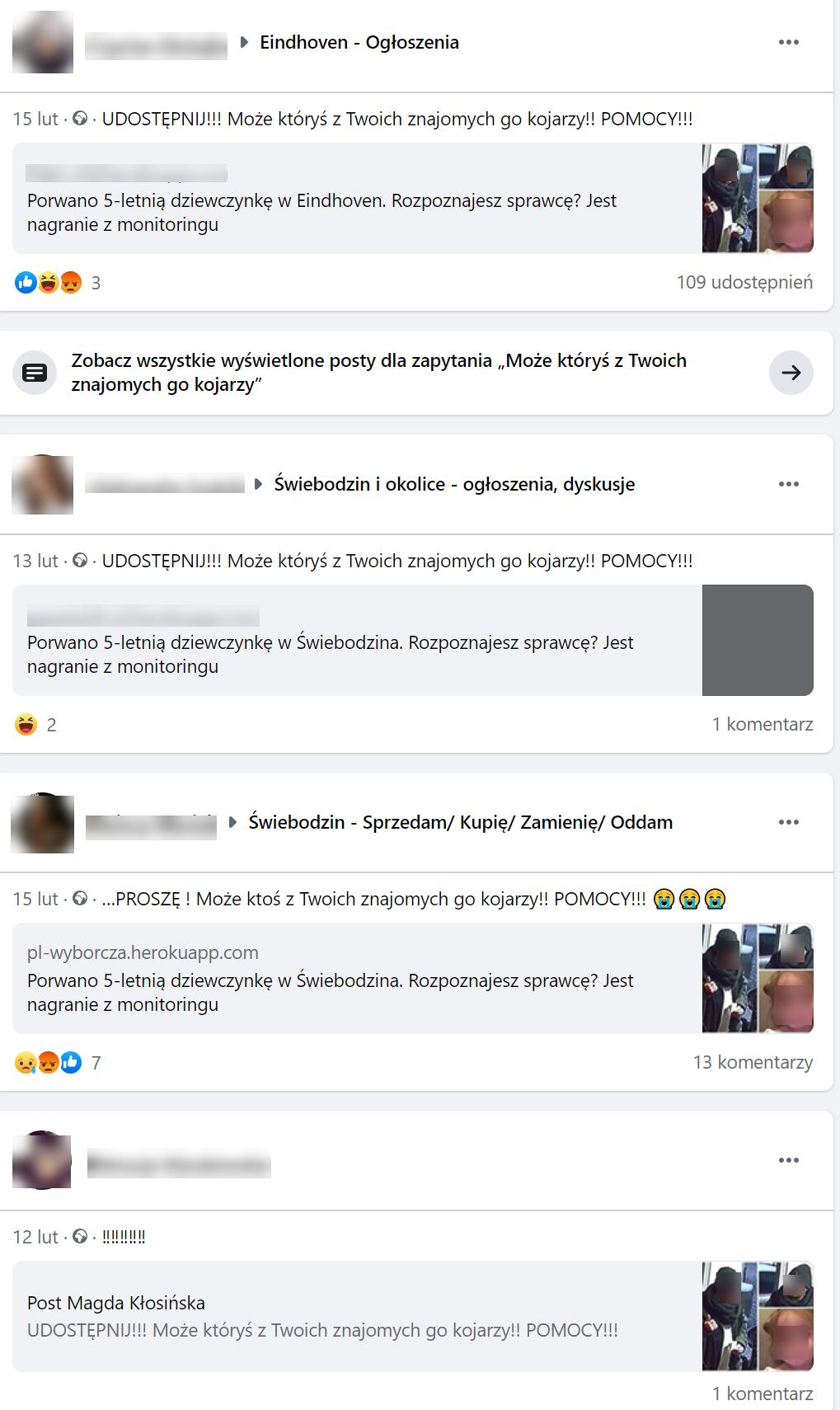 Wpisy na Facebooku o rzekomym porwaniu kilkulatki