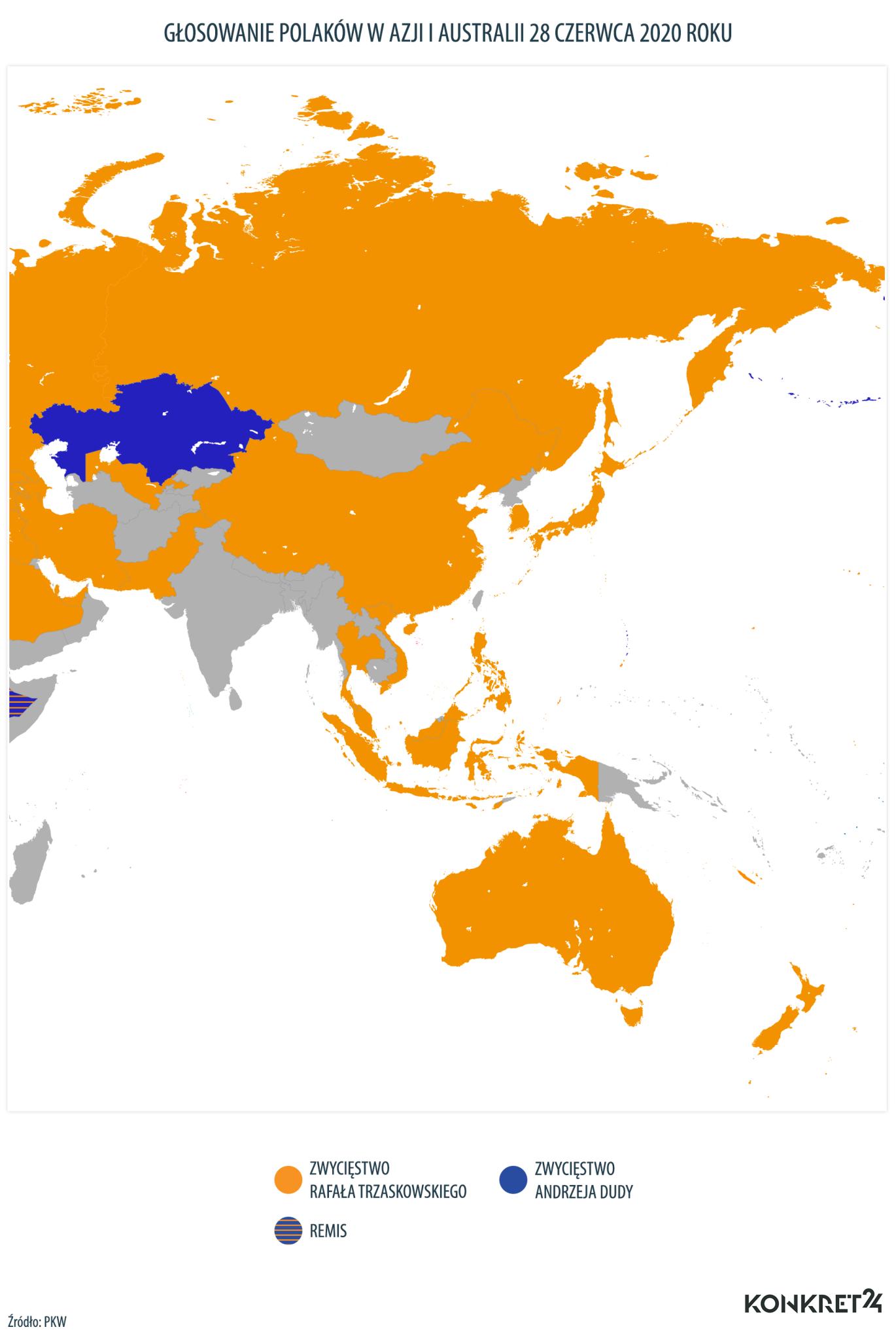 Głosowanie Polaków w Azji i Australii w I turze wyborów prezydenckich w 2020 roku