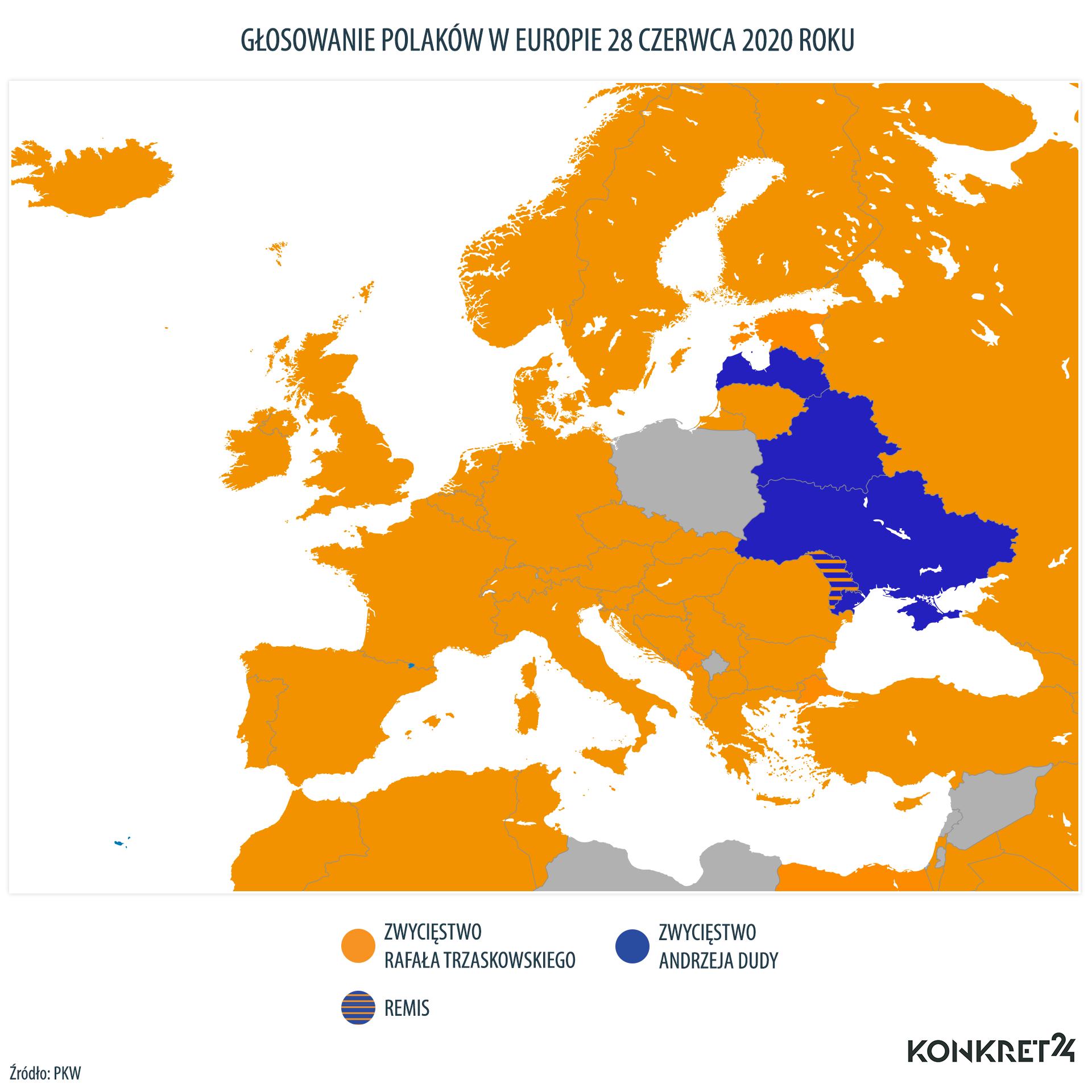 Głosowanie Polaków w Europie w I turze wyborów prezydenckich w 2020 roku
