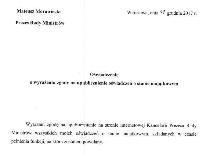 Zgoda premiera M.Morawieckiego na ujawnienie oświadczenia majątkowego