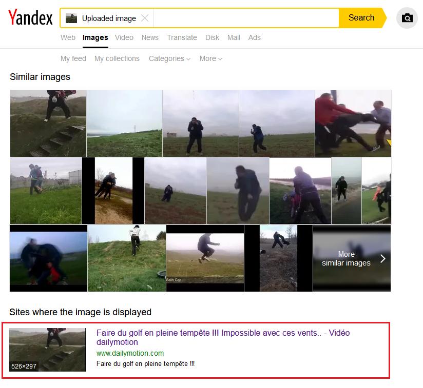 Sugerowany wynik wyszukiwania obrazem w Yandex