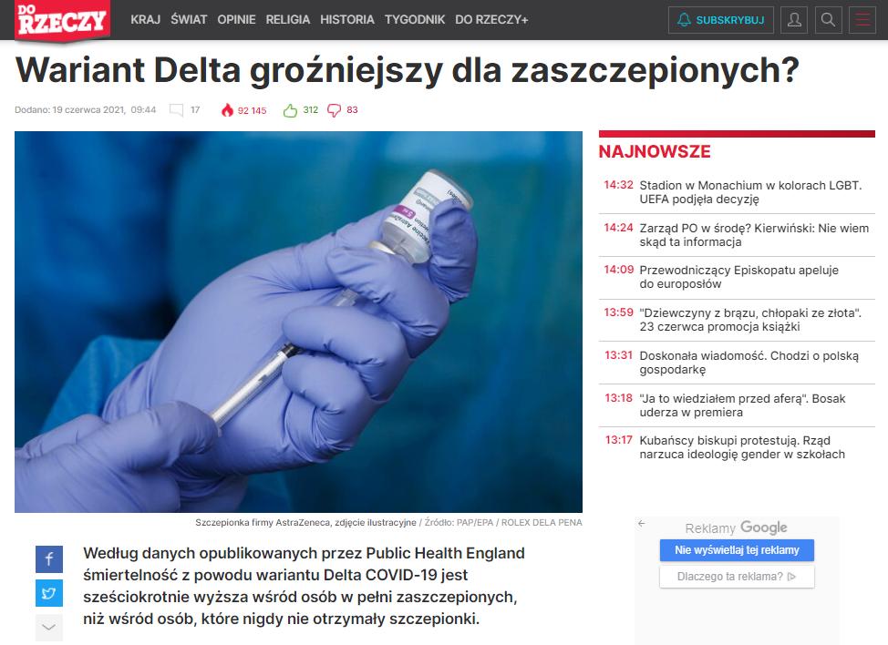 """Nagłówek artykułu na portalu tygodnika """"Do Rzeczy"""""""