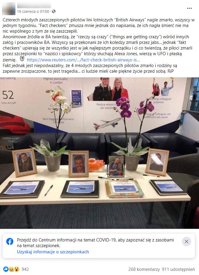 Facebookowy post wiążący fałszywie zgony czterech pilotów z zaszczepieniem przeciw COVID-19
