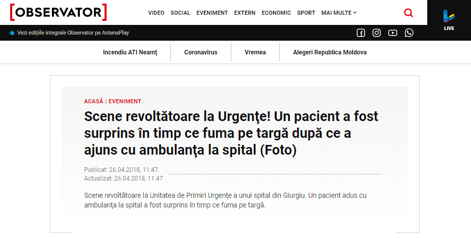 Fragment artykułu w portalu Observatornews.ro