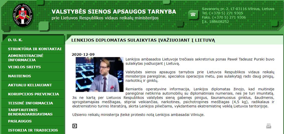 Komunikat, jaki ukazał się na internetowej witrynie litewskiej straży granicznej