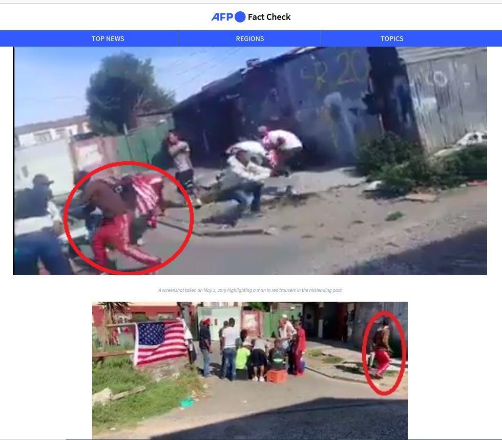AFP oznaczyła w kadrze mężczyznę w czerwonych spodniach jako statystę w nagrywanym filmie