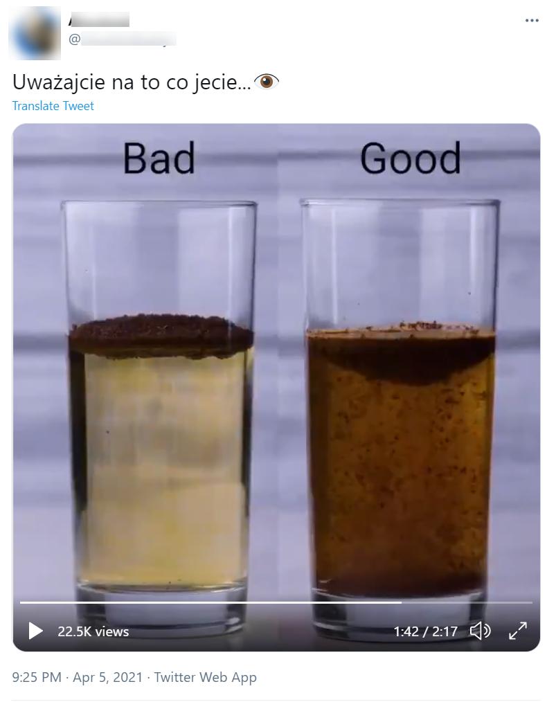 Podana w filmie teza, że naturalna kawa nie utrzymuje się na powierzchni wody, nie jest prawdziwa