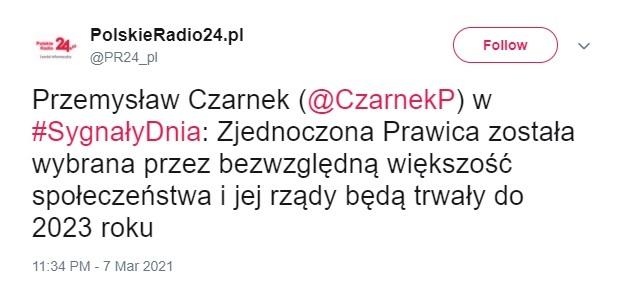 Wypowiedź ministra edukacji cytowano na profilu Polskiego Radia 24