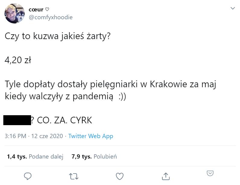 Wpis na Twitterze o dodatku dla krakowskich pielęgniarek.