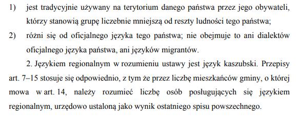 Zapisy ustawy dotyczące języka regionalnego