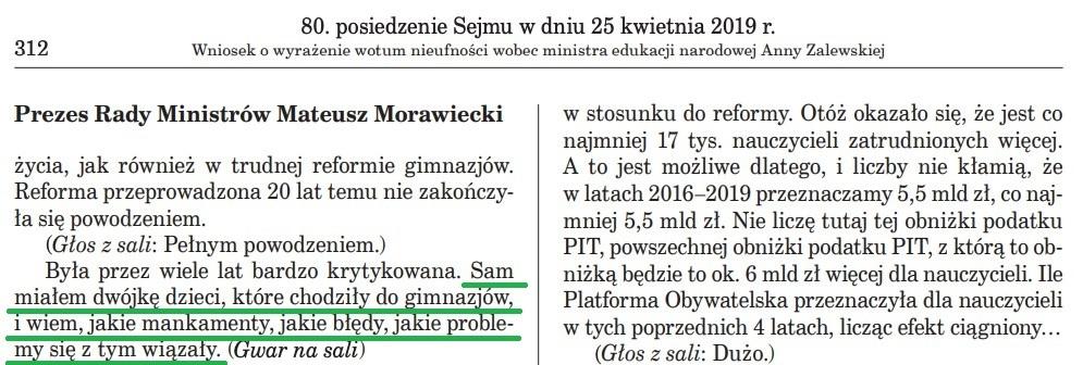 Fragment stenogramu z wystąpienia premiera Morawieckiego
